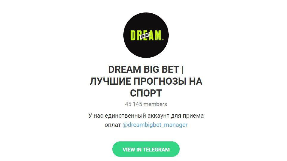 Телеграм канал Влада Литвинова(Селеба из Гетто) под названием Dream Big Bet