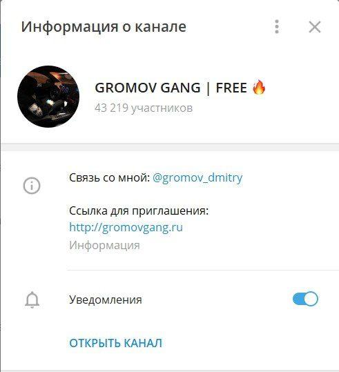 Телеграмм канал Gromov Gang Free