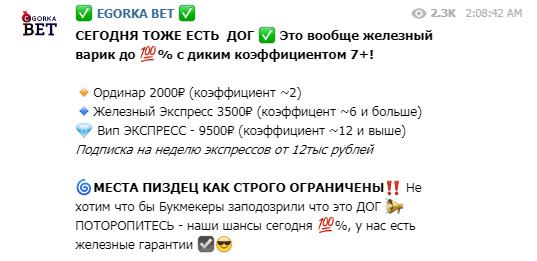 Цены за подписку на канал Егорка бет в Телеграмме
