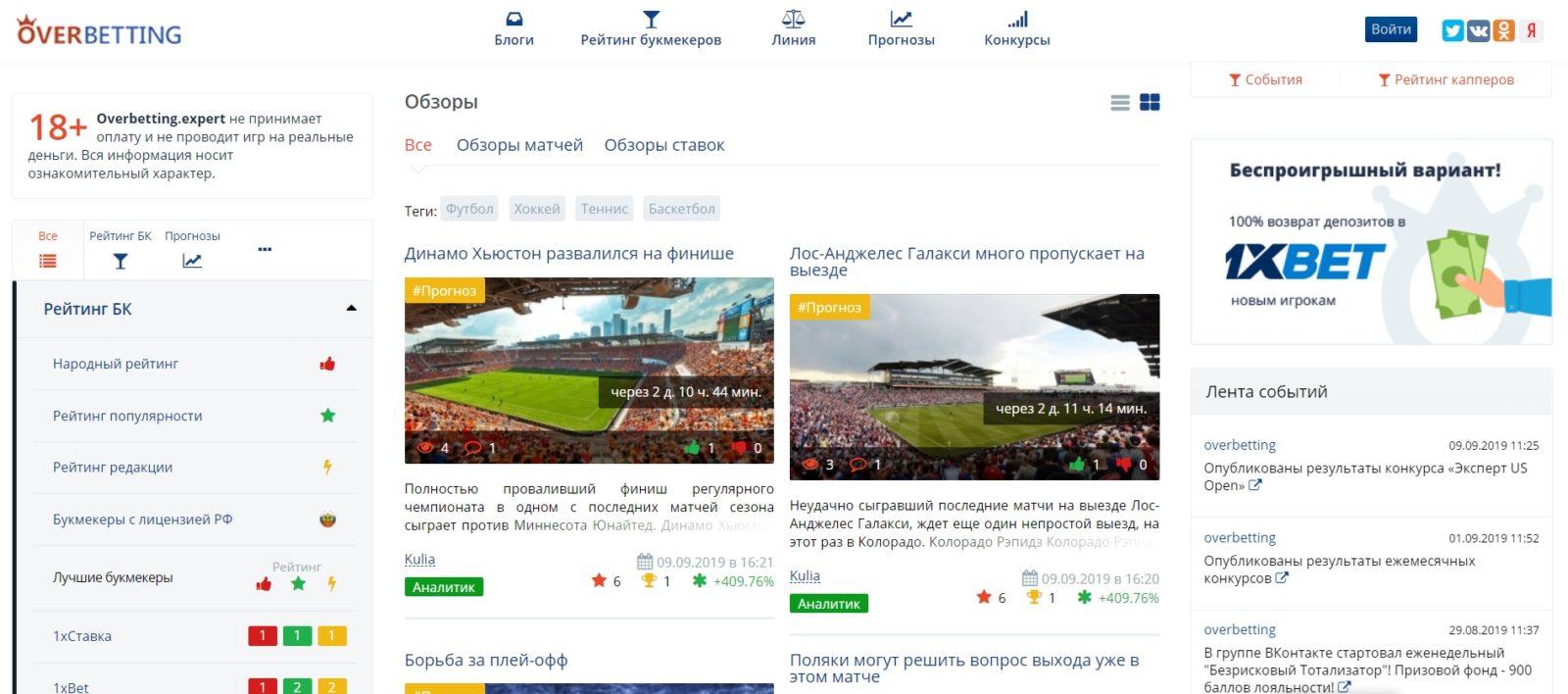 Отзывы о сайте Overbetting.net