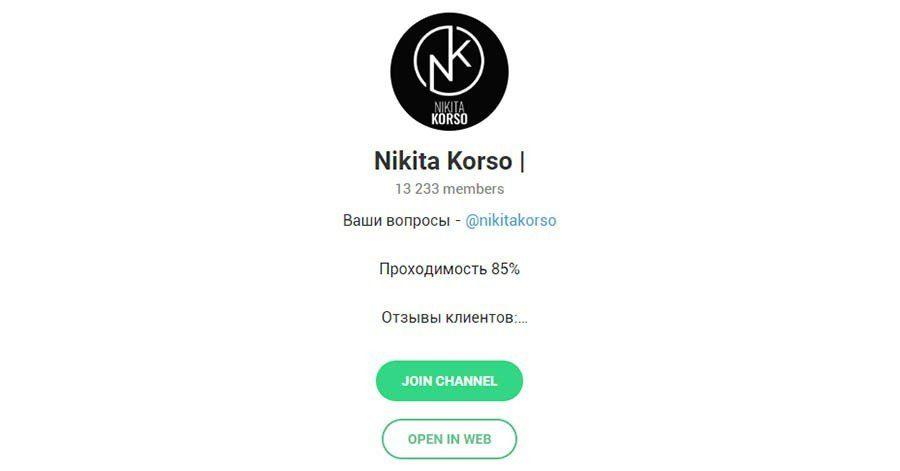 Отзывы о капере Никите Корсо (Nikita Korso) в Телеграмме