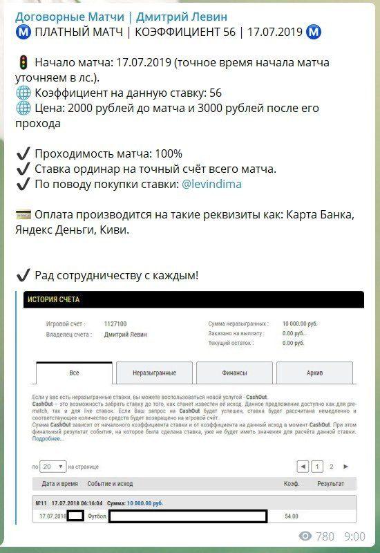 Цена прогноза от Дмитрия Левина