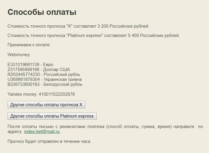 Цены за подписку на каппера Indexbet.ru