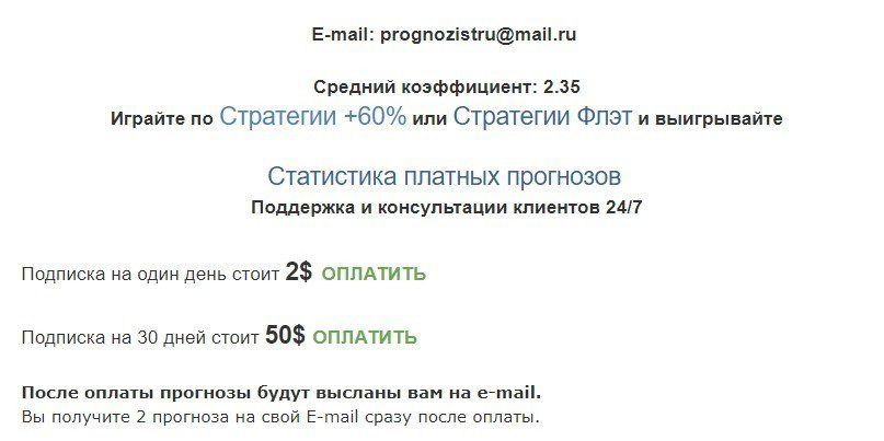 Цены за подписку на каппера Bettotal.Blogpost.com