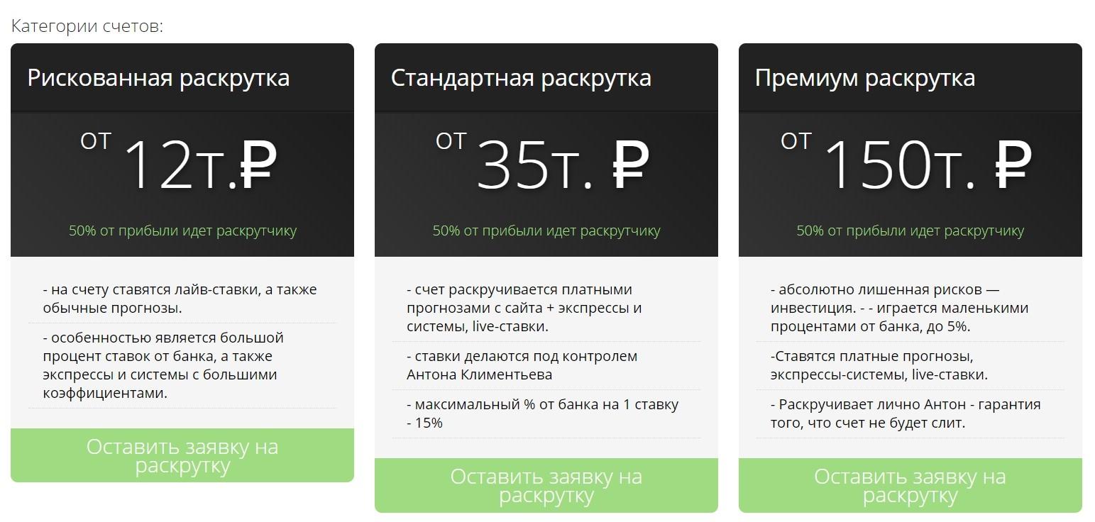 Раскрутка счета на сайте Prognoz-Garant.ru