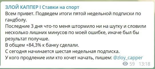 Статистика прогнозов от Батя ставит (ex. Злой Каппер)