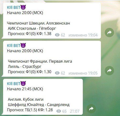 Прогнозы от телеграм канала Kill Bet