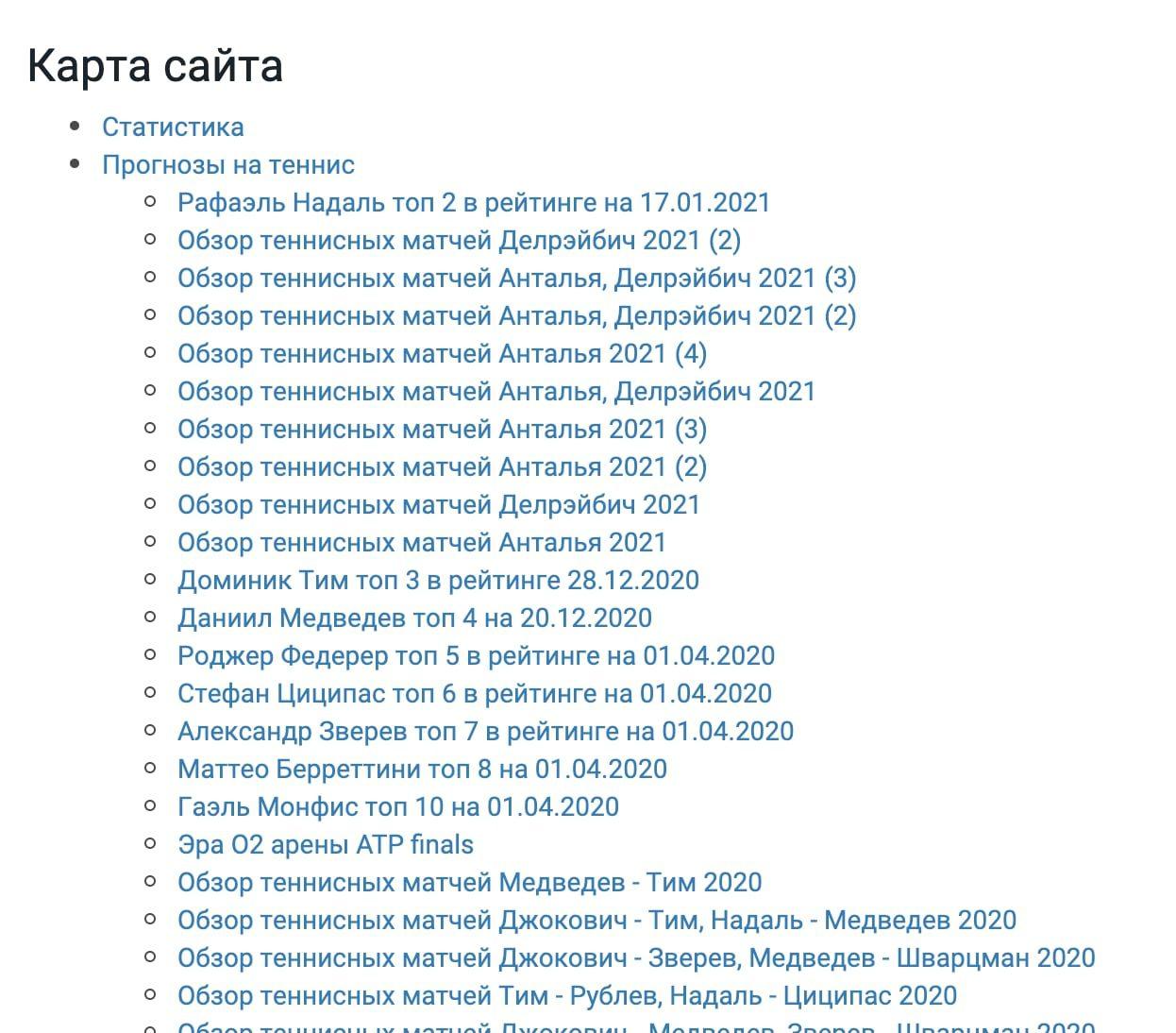 Карта сайта Dotennis.ru (Дотеннис ру)