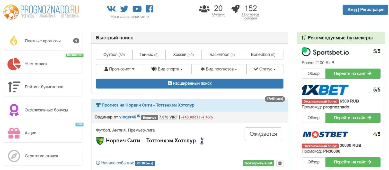 Главная страница сайта Prognoznado ru (Прогноз надо ру)