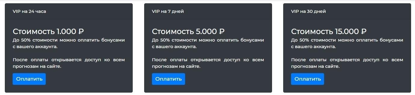 Цены за подписку на каппера 101win.ru