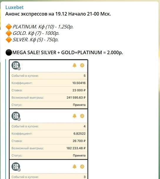 Ценовая политика Телеграм канала Luxebet (ЛюксБет)