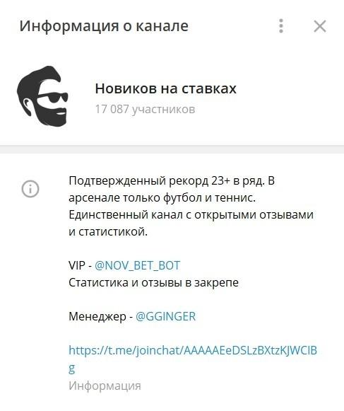 Телеграм канал Новиков на ставках