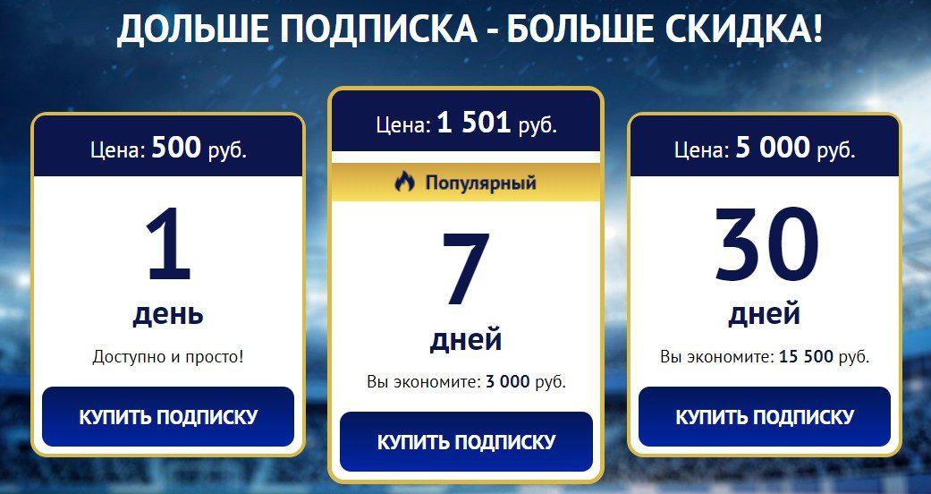 Цены за подписку на каппера 1leobet.ru