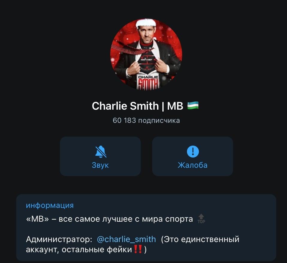 Второй телеграм канал  Charlie Smith (Чарли Смит) | MafiabBet