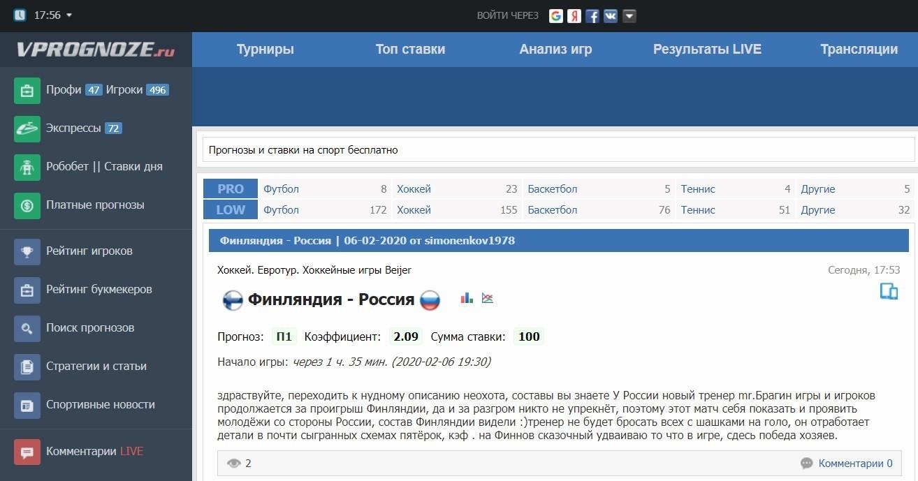 Главная страница сайта Впрогнозе ру (Vprognoze ru)