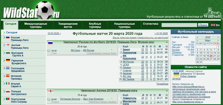 Главная страница сайта www Wildstat ru (Вильдстат ру)