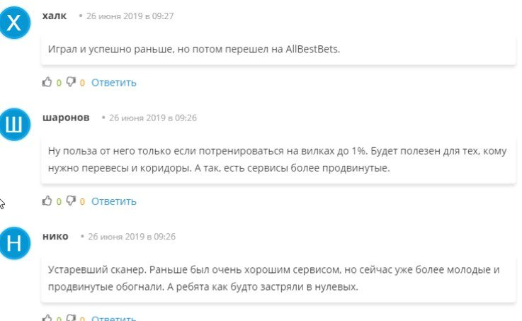 Отзывы о сервисе Surebet