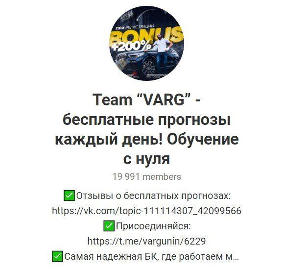 Телеграм канал Team «VARG» (Варгунин)