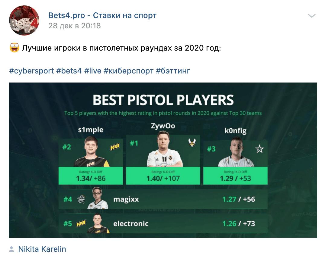 Пост в группе ВК Bets4pro (Бетс4про)
