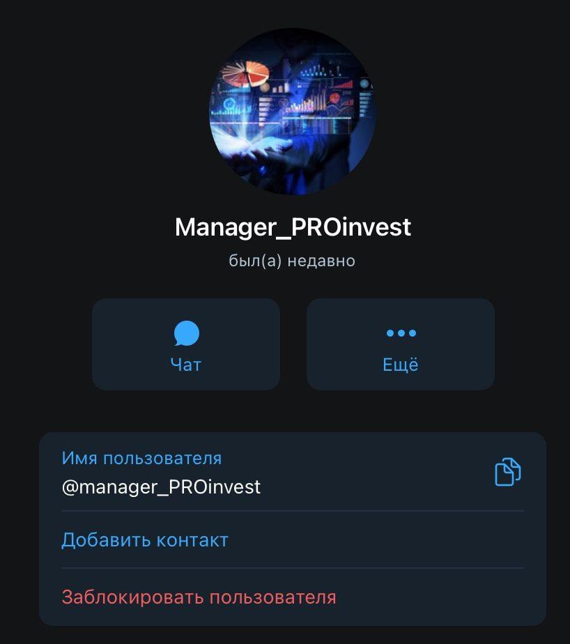 Главный менеджер телеграм канала Proinvest (Проинвест)