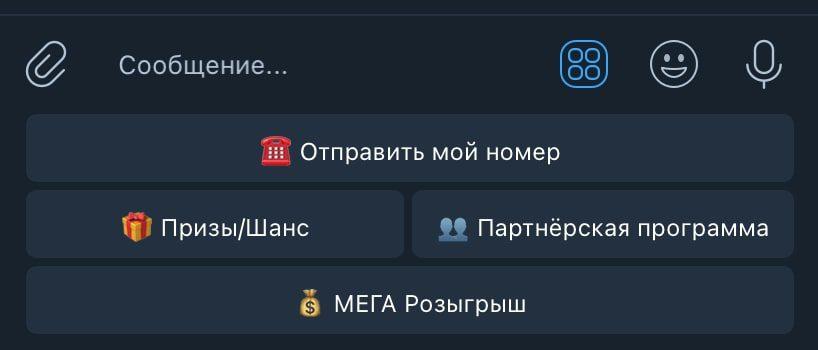 Кнопки в Телеграм боте SEOBonus bot (Сеобонус бот)