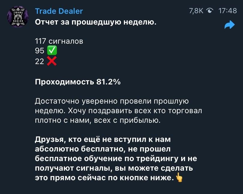 Статистика прогнозов каппера Trade Dealer