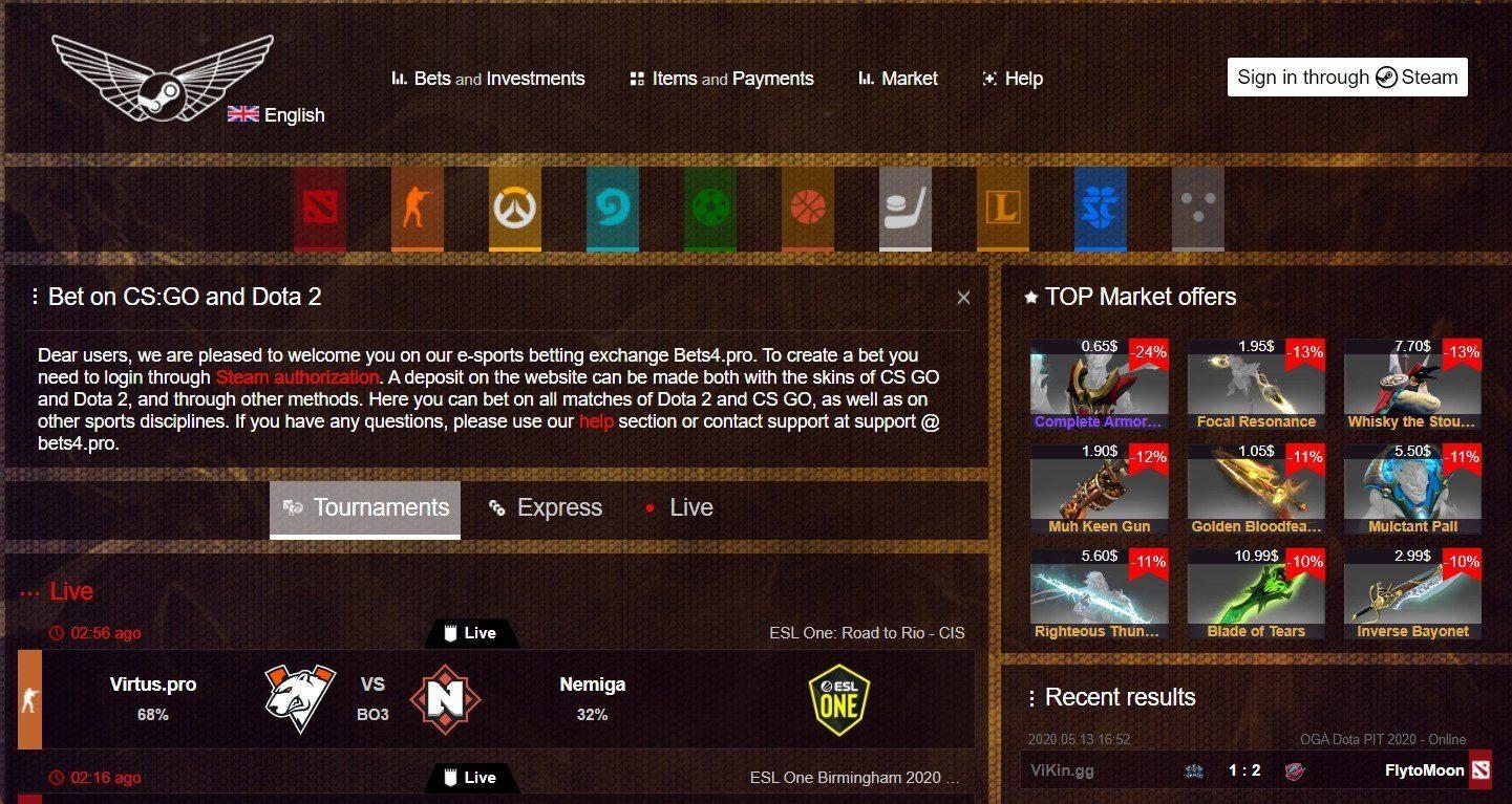 Главная страница сайта Bets4pro (Бетс4про)