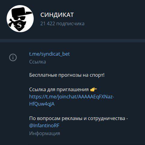 синдикат информация о канале в телеграмм