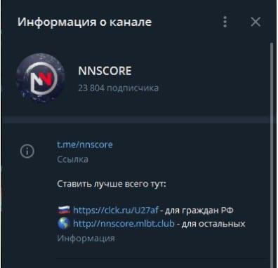 nnscore информация о телеграмм канале